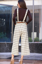 Load image into Gallery viewer, Women's Plaid Ecru Overall & Brown Blouse Set
