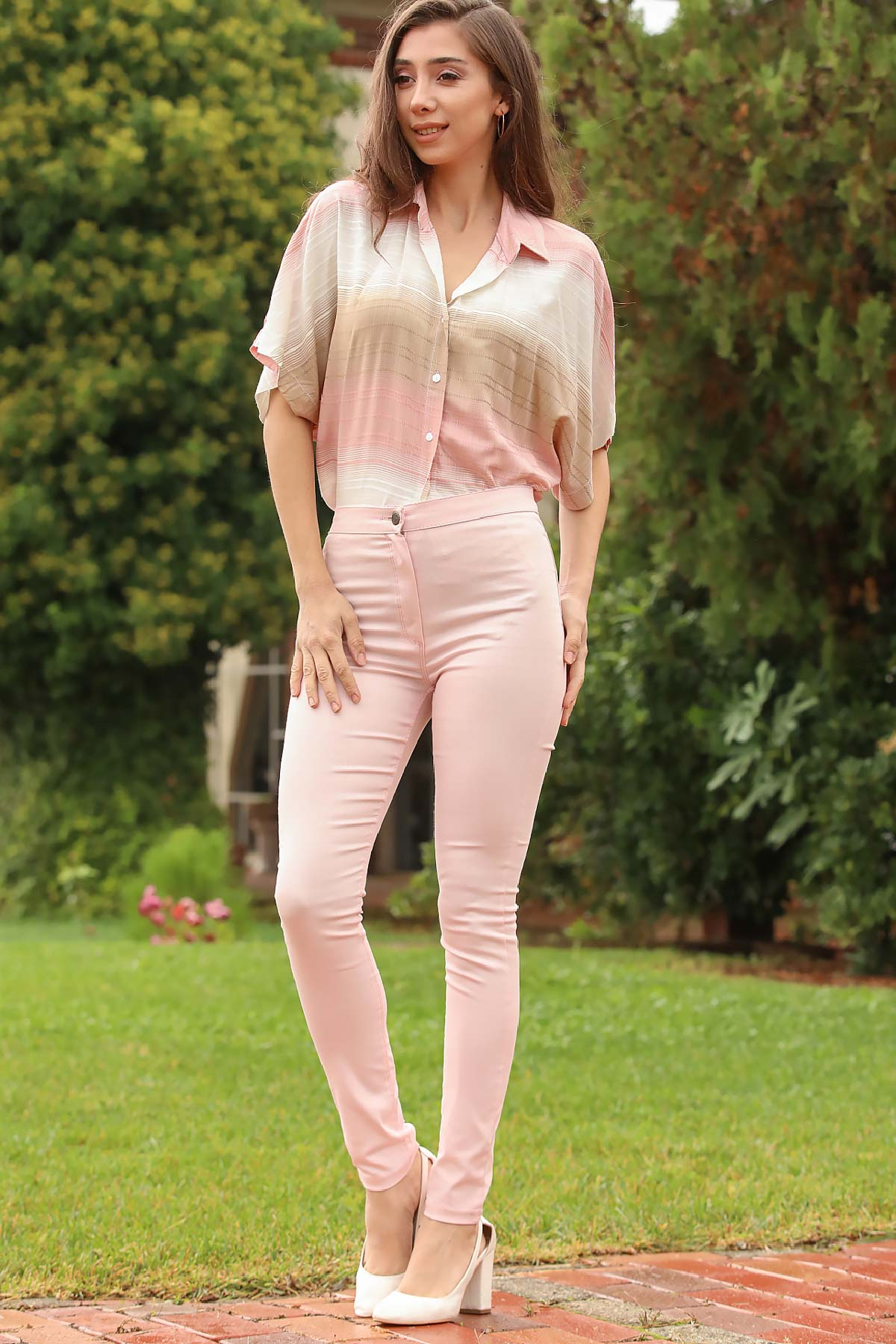 Pocket Detailed Light Powder Rose Pants