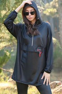 Women's Hooded Shiny Black Sweatshirt
