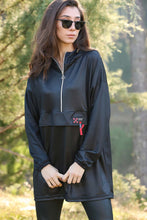 Load image into Gallery viewer, Women's Hooded Shiny Black Sweatshirt