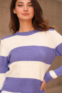 Women's Striped Purple Sweater