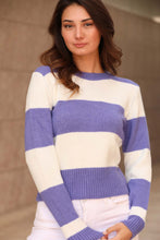 Load image into Gallery viewer, Women's Striped Purple Sweater