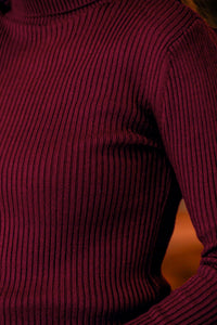 Women's Turtleneck Claret Red Rib Tricot Sweater