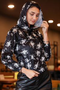 Women's Hooded Patterned Black Velvet Sweatshirt