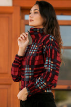Load image into Gallery viewer, Women's Plaid Red Polar Sweatshirt
