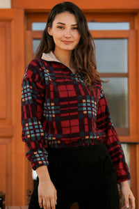Women's Plaid Red Polar Sweatshirt