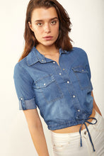 Load image into Gallery viewer, Women's Tie Hem Denim Shirt