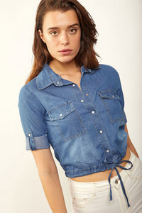 Women's Tie Hem Denim Shirt