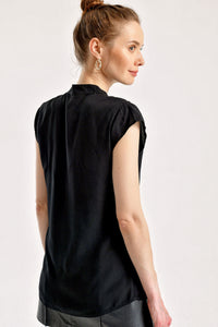 Women's Short Sleeves Plain Black Shirt