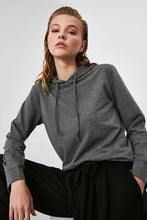 Load image into Gallery viewer, Women's Hooded Grey Sweatshirt