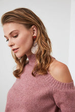 Load image into Gallery viewer, Women's Open Shoulders Dusty Rose Tricot Sweater