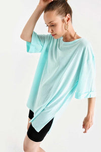 Women's Roll-up Sleeves Slit Shabby Mint Green T-shirt