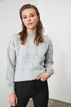 Load image into Gallery viewer, Women's Crew Neck Bobble Grey Tricot Sweater