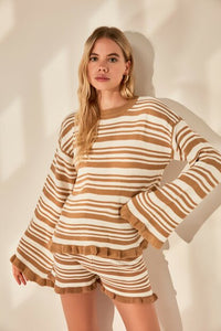 Women's Striped Camel Tricot Sweater