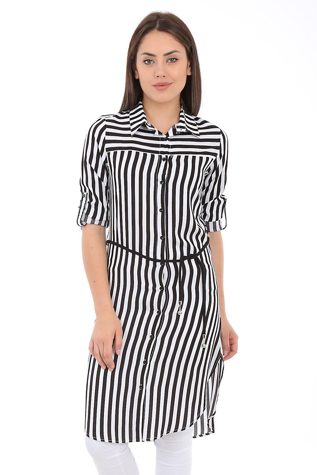 Women's Belted Striped Tunic