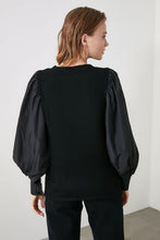 Load image into Gallery viewer, Women's Texture Sleeves Black Tricot Sweater