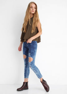Women's Ripped Indigo Jeans