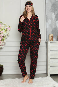 Women's Long Sleeves Button Cotton Pajama Set