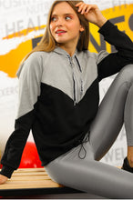 Load image into Gallery viewer, Women's Zip Collar Grey - Black Sweatshirt