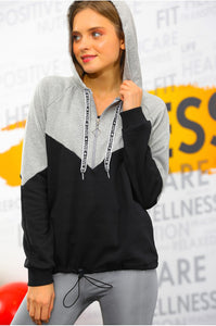 Women's Zip Collar Grey - Black Sweatshirt