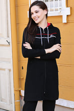 Load image into Gallery viewer, Women's Hooded Striped Black Modest Sweat Suit