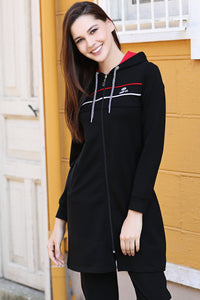 Women's Hooded Striped Black Modest Sweat Suit