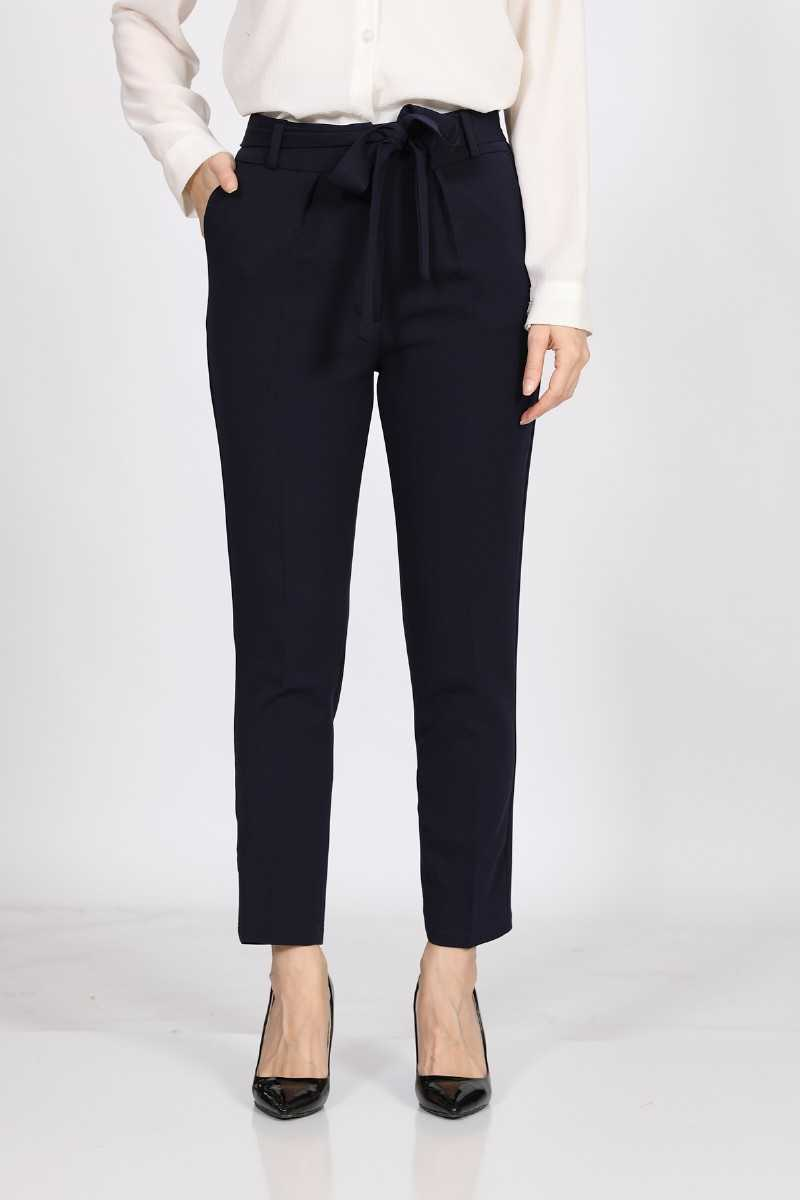 Women's Belted Navy Blue Fabric Pants