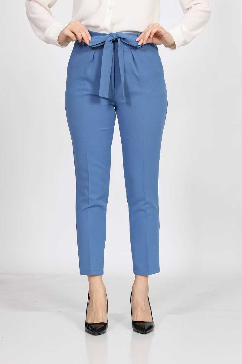Women's Belted Blue Fabric Pants