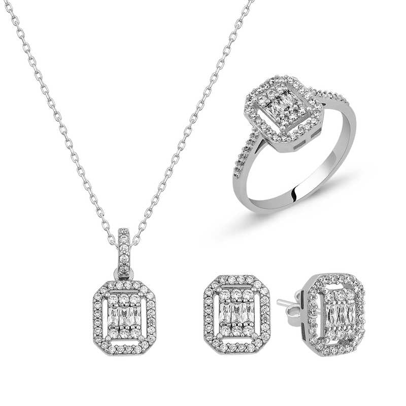 Women's Baguette Stone Silver Necklace, Ring & Earrings Set