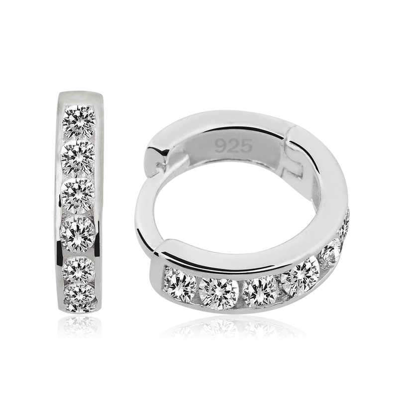 Women's White Gemmed Silver Ring Earrings