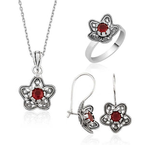 Women's Floral Design Silver Jewelry Set