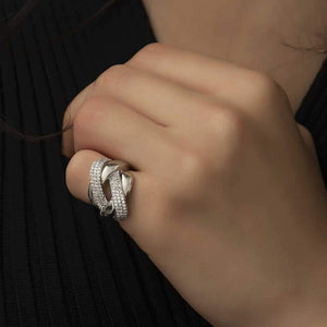 Women's Gemmed Silver Ring - Unique Style