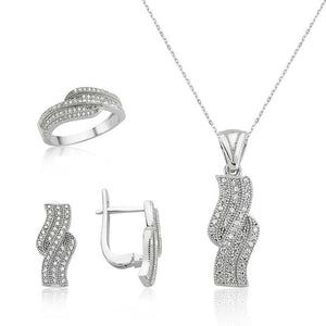 Women's White Gemmed Silver Necklace, Ring & Earrings Set