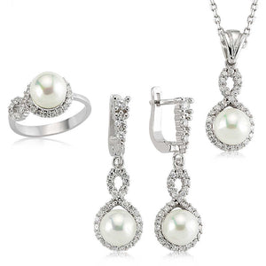 Women's Infinity Figure Pearl Silver Necklace, Ring & Earrings Set