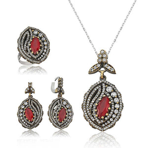 Women's Gemmed Silver Necklace, Ring & Earrings Set