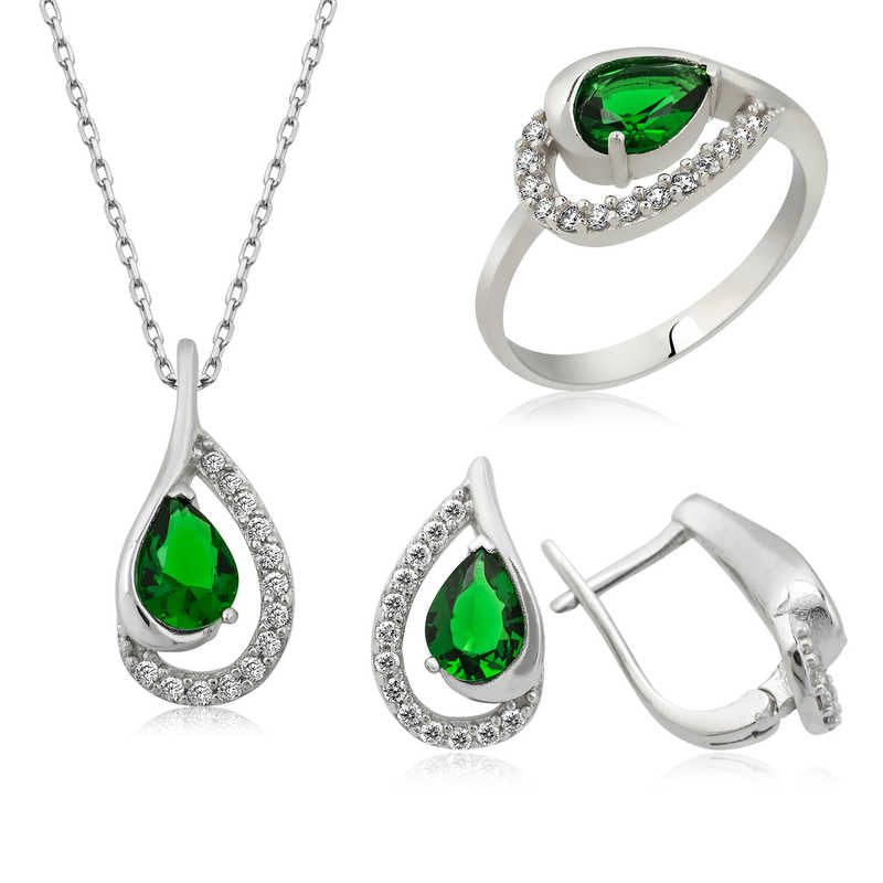 Women's Green Drop Gemmed Silver Necklace, Ring & Earrings Set