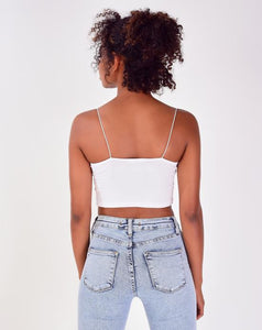 Women's Thin Strap White Crop Blouse