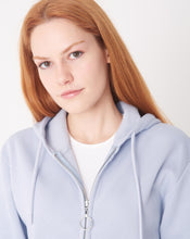 Load image into Gallery viewer, Women's Hooded Zipped Ice Blue Crop Cardigan