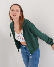 Load image into Gallery viewer, Women's Hooded Zipped Emerald Green Crop Cardigan
