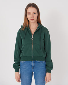 Women's Hooded Zipped Emerald Green Crop Cardigan