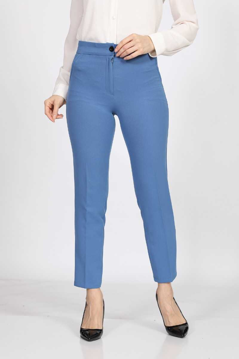 Women's Blue Fabric Ankle Pants