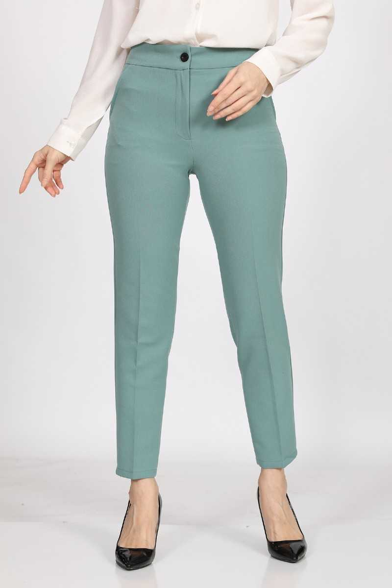 Women's Mint Green Fabric Ankle Pants