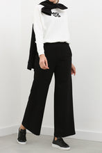 Load image into Gallery viewer, Women's Elastic Waist Black Wide Leg Sport Pants