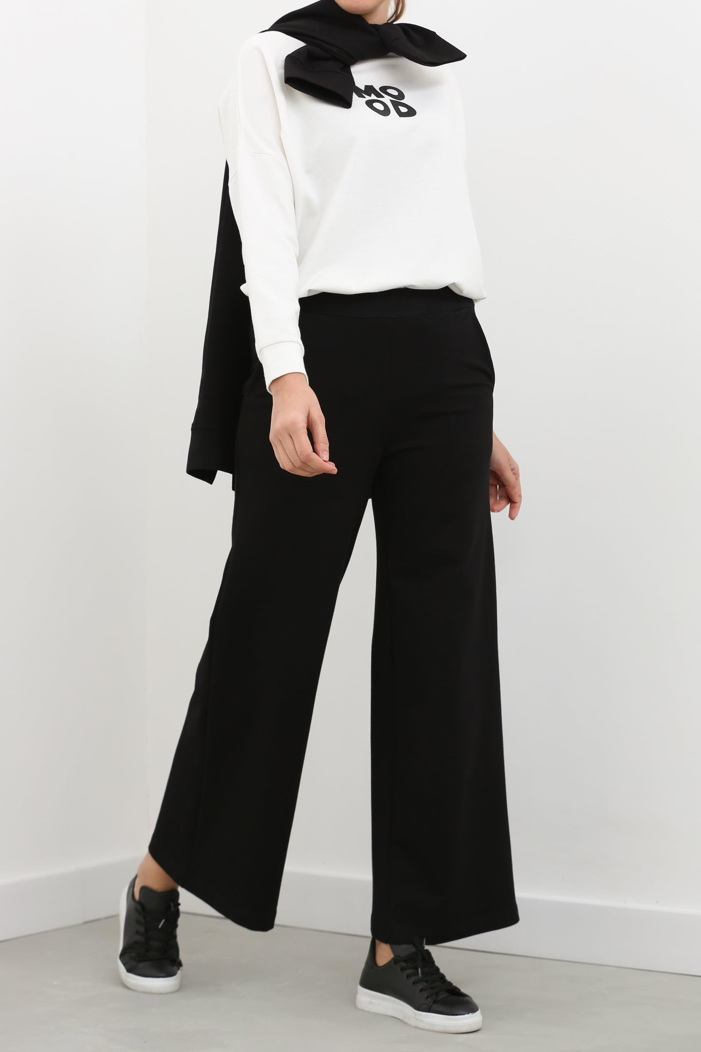 Women's Elastic Waist Black Wide Leg Sport Pants