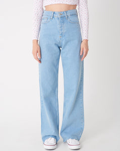 Women's Ice Blue Wide Legs Jeans