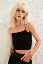 Load image into Gallery viewer, Women's Thin Strap Black Combed Cotton Crop Blouse
