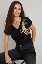 Load image into Gallery viewer, Women's Sequin Embroidered Black T-shirt