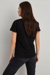 Women's Sequin Embroidered Black T-shirt
