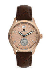 Women's Round Metal Case Brown Leather Watch