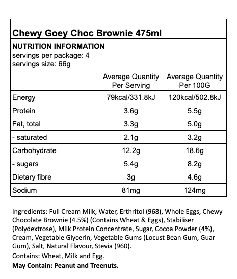 Nutritional Information for Tilly's Guilt Free Ice Cream - Chewy Goey Choc Brownie